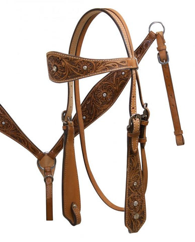 Double Stitched Leather Headstall with Floral Tooling