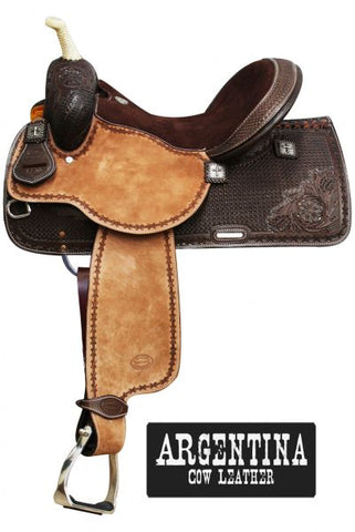 #6532: This saddle features square tooling on skirts and pommel and cantle with medium color rough