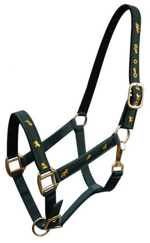 "Green Horse size nylon halter with ""running horse"" overlay"