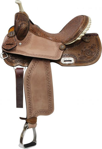 "14"" Double T Barrel Style Saddle with Brown Filigree Seet and Tooling"