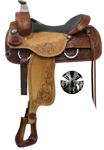 "16"" Double T Roper Style Saddle with Cross Guns Conchos"