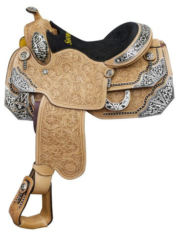 #6602: ® show saddle with floral tooling and black inlay trim with silver accents