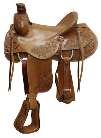 "#660616: 16"" Circle S Hardseat roper saddle with floral tooling"