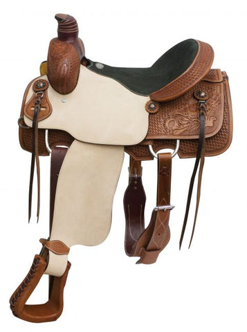 "16"" Showman ® Argentina cow leather roper saddle with floral and basket weave tooling"
