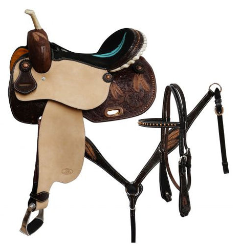 "#6651: 14"",15"",16"" Circle S Barrel saddle set with feather tooling"