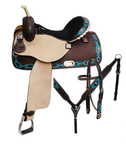 "15"" Circle S Barrel saddle set with painted Navajo diamond and pink cross beads"