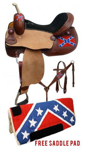 "15"" Double T Rebel flag barrel saddle package set"