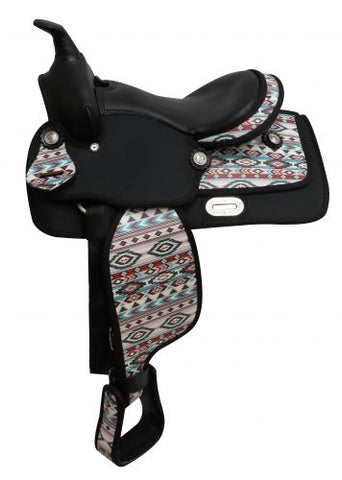 "#669412: 12"" Economy synthetic saddle with Navajo print"