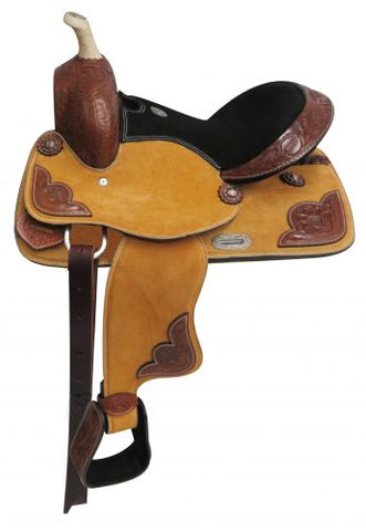 "#670613: 13"" Double T Pony/Youth suede leather saddle"