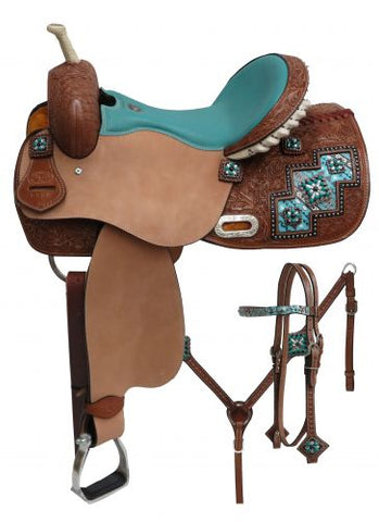"14"" Double T "" Arctic Aztec"" print barrel style saddle set"