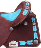"#6831: 15"", 16"" Circle S Barrel Style Saddle with turquoise leather laced arrow trim"