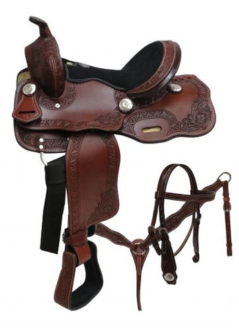 "#690012: 12"" Double T pony saddle set with floral tooling"