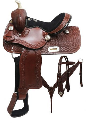 "#690312: 12"" Double T Youth barrel style saddle set with zigzag and basket weave tooling"