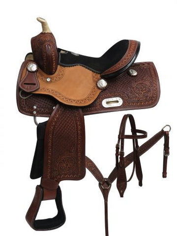 "#690412: 12"" Double T Youth barrel style saddle set with zigzag, basket weave and floral tooling"