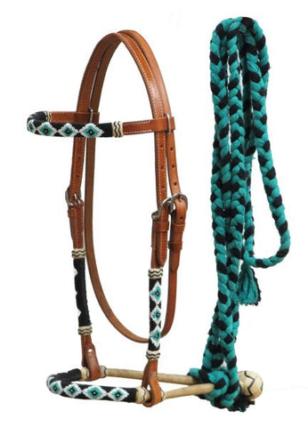 #7020: Showman® Leather bosal headstall with beaded overlays and teal cotton mecate reins