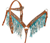 #7035X: Showman ® Metallic painted feather and arrow browband headstall and breast collar set