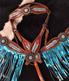 "#7041: Showman ® ""Light as a Feather"" browband headstall and breast collar set"