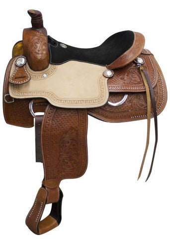 "17"" Double T Roper Style saddle with suede leather seat"