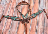 #7051: Showman ® Turquoise Beaded Browband Headstall and Breast Collar Set