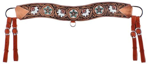 #7052: Showman ® Floral tooled tripping collar with cowhide inlay