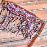 #7054: Showman ® Purple hand painted browband headstall and breast collar set