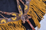 #7060X: Showman ® Hand Painted Sunflower Browband Headstall and Breastcollar Set with Fringe