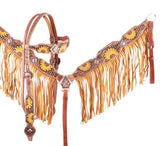 Showman ® Hand Painted Sunflower Browband Headstall and Breastcollar Set with Fringe