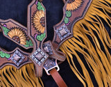 #7061X: Showman ® Hand Painted Sunflower and Cactus Browband Headstall and Breastcollar Set with Fringe