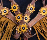 #7068X: Showman ® Sunflower Overlay Browband Headstall and Breastcollar Set