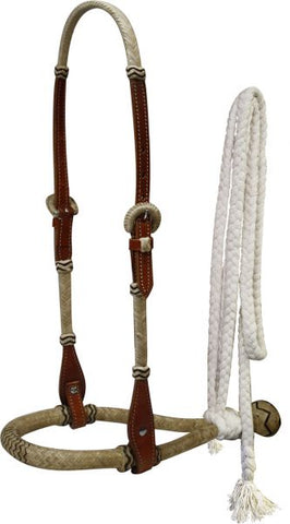 Medium Showman™ leather rawhide braided show bosal with mecate cotton reins