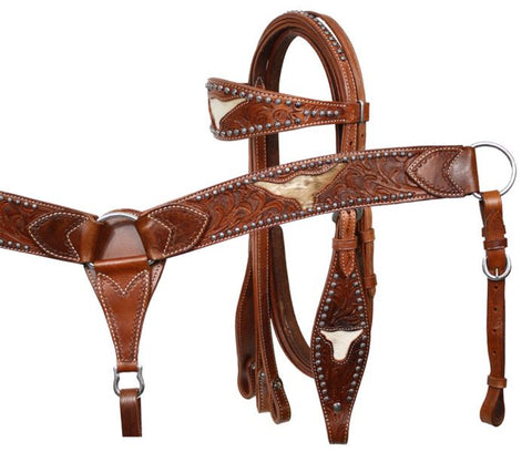 #7160: Showman Leather double stitched tooled browband headstall, reins and tooled breastcollar set