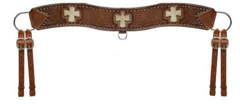 Medium Showman™ leather basketweave tooled tripping collar with silver studded beads
