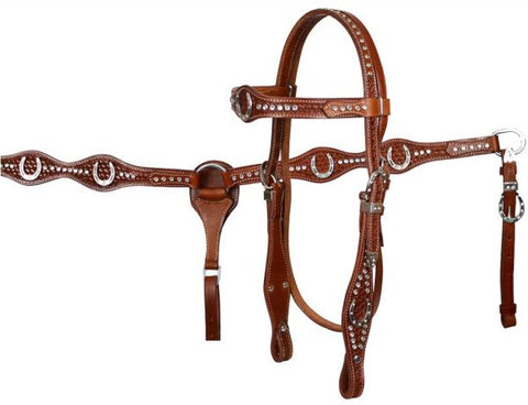 #7184: Showman™ double stitched fully tooled leather browband headstall and breast collar set with
