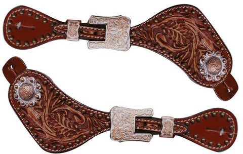 Showman ® Ladies size Floral tooled spur straps accented with an engraved copper buckles and conchos accented with an antique white finish