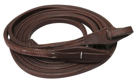 "#72007: Showman ® 8ft X 5/8"" Oiled harness leather split reins with quick change bit loops"