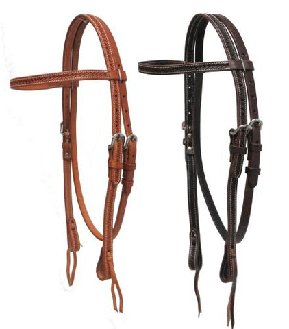 #72011: Showman ® Argentina cow leather basket weave tooled headstall
