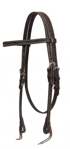 Dark Chocolate Showman ® Argentina cow leather headstall with barbed wire tooling