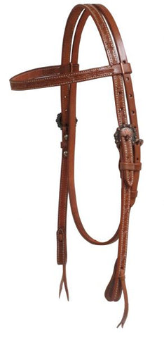 #72026: Showman ® Argentina cow leather headstall with barbed wire tooling