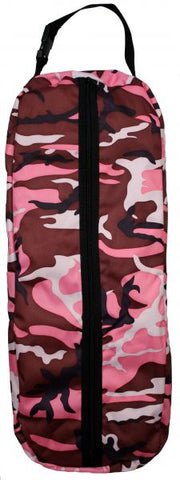 Pink Camouflage Showman pink or purple camouflage print nylon halter/bridle bag with heavy duty zipper