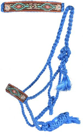 #722743: Woven baby blue nylon mule tape halter with hand painted aztec noseband