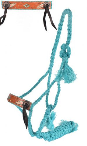 Showman® Woven teal nylon mule tape halter with feather design