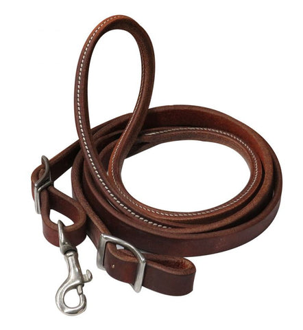 #74047: Showman ® 7ft heavy oiled harness leather contest rein with rolled center nickel plated sna