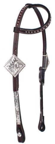 #74077: Showman ® Tooled Argentina cow leather show headstall