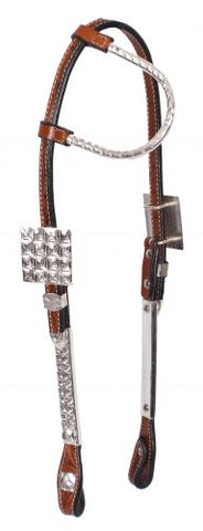 #74078: Showman ® Tooled Argentina cow leather show headstall with silver ear