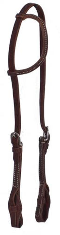 #74099: Showman ® Heavy Oiled leather one ear headstall with quick change bit loops