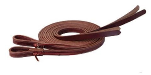 "#74101: Showman ® 8ft X 5/8"" Double stitched leather split reins with split poppers on the end"