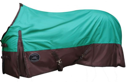 82/Teal Showman turnout sheet is waterproof and breathable