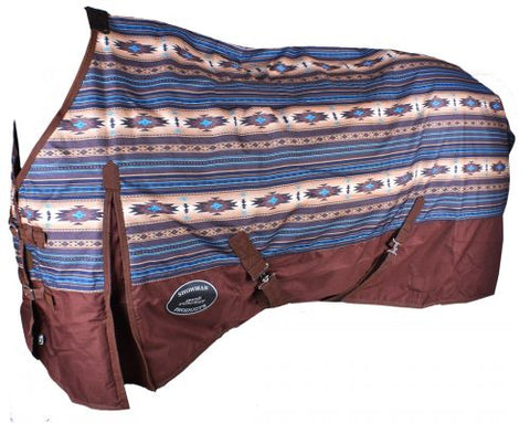 #75220X: Showman ® Brown and Turquoise Southwest Print 1200D Turnout Sheet