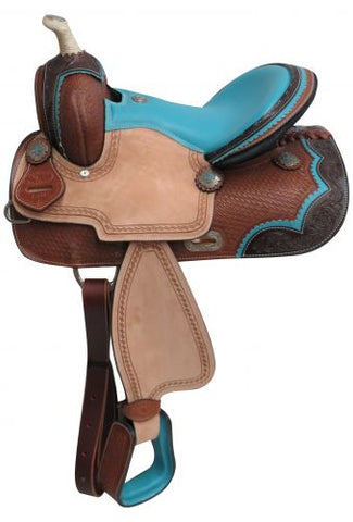 "#670813: 13"" Double T Pony/Youth barrel style saddle"