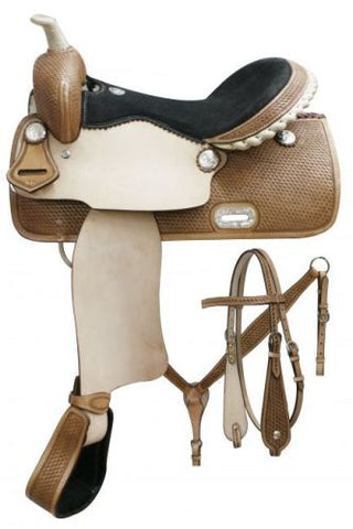 "15"" Double T Barrel saddle set with basket weave tooling"